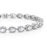 5.00 Ctw Oval Cut Brilliant White CZ Folding Clasp Tennis Bracelet 7 Inch
