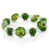 Gem Stone King 7.5inches Multicolor Stretchable Handcrafted Murano Glass Beads Adjustable Bracelet
