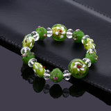 "7.5"" Green Color Stretchable Handcrafted Murano Glass Beads Adjustable Bracelet"