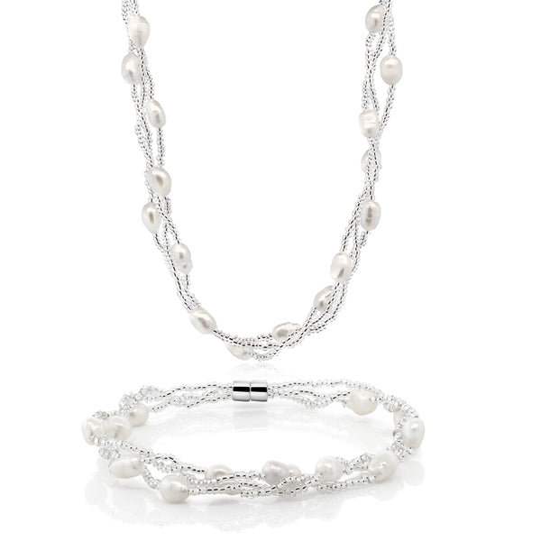 Twisted White Cultured Freshwater Pearl Necklace & Bracelet With Magnetic Clasp