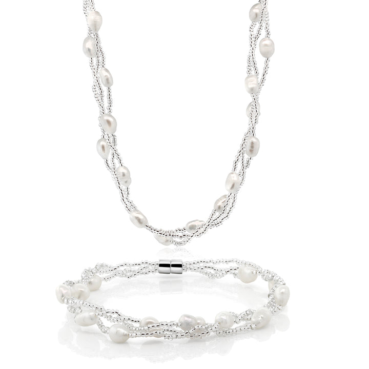 Gem Stone King Twisted White Cultured Freshwater Pearl Necklace & Bracelet With Magnetic Clasp