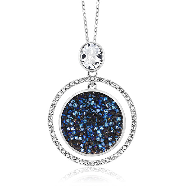 "2"" Moonlight Crystal Dust Double Circle Pendant Made with Swarovski® Crystals"