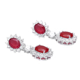 Stunning Oval Shape Red Color Cubic Zirconia Dangle Earrings 1.50 Inch