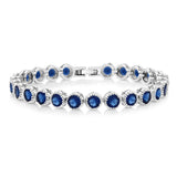 "Gem Stone King 12.5 Ct Round Cut Multicolor Cubic Zirconia CZ 7"" Tennis Bracelet"