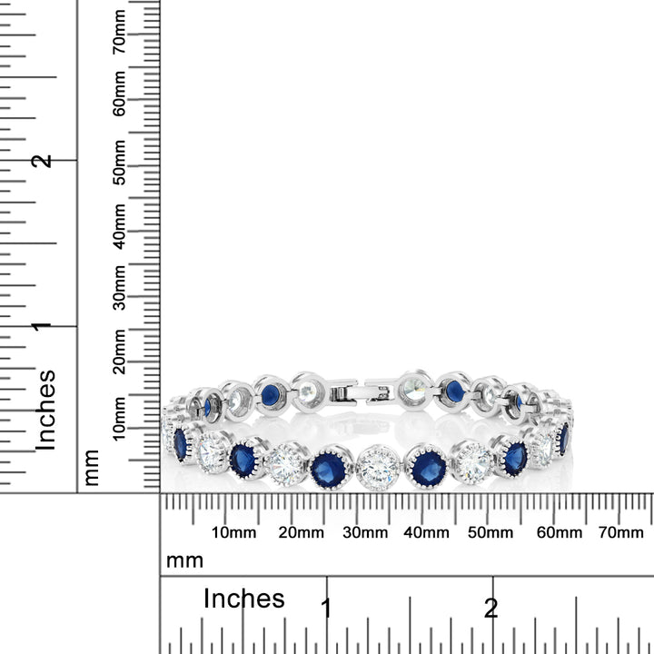 "12.5 Ct Round Cut Multicolor Cubic Zirconia CZ 7"" Tennis Bracelet"