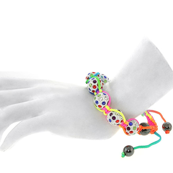 High Quality Adjustable Bracelet with Heavy Multi-Color Disco Beads