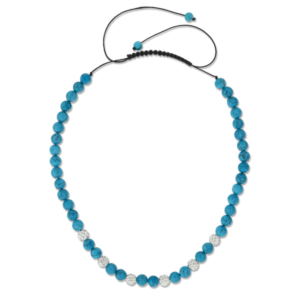 Blue Simulated Turquoise Adjustable Necklace w/ Iced Out 10MM White Color Beads