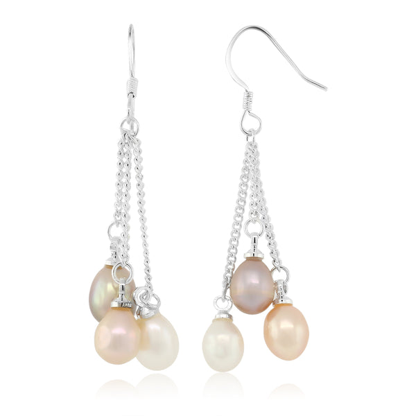 3-Color Cultured Freshwater Pearl Dangle Earrings 1.5 Inch