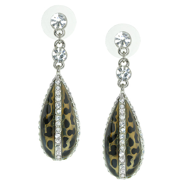 Gem Stone King 2inches Black and White Color Water Drop Shape Cubic Zirconia CZ Dangle Earrings