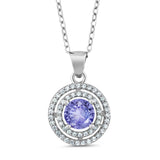 Gem Stone King 1.54 Ct Round Blue Tanzanite AAAA 925 Sterling Silver Pendant