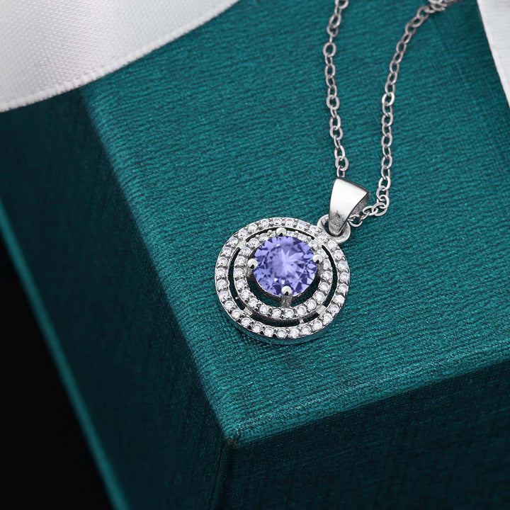 1.54 Ct Round Blue Tanzanite AAAA 925 Sterling Silver Pendant