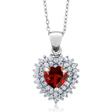 Gem Stone King Sterling Silver Heart Shape Red Garnet Gemstone Birthstone Pendant necklace ( 2.47 cttw, With 18 Inch Silver Chain)