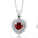 "2.47 Ct Heart Shape Red Garnet 925 Sterling Silver Pendant + 18"" Chain"
