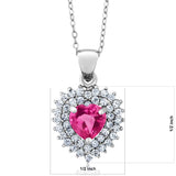 "2.46 Ct Heart Shape Pink Mystic Topaz 925 Sterling Silver Pendant with 18"" Chain"