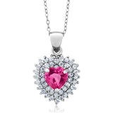 Gem Stone King 1.93 Ct Heart Shape Pink Mystic Topaz 925 Sterling Silver Pendant