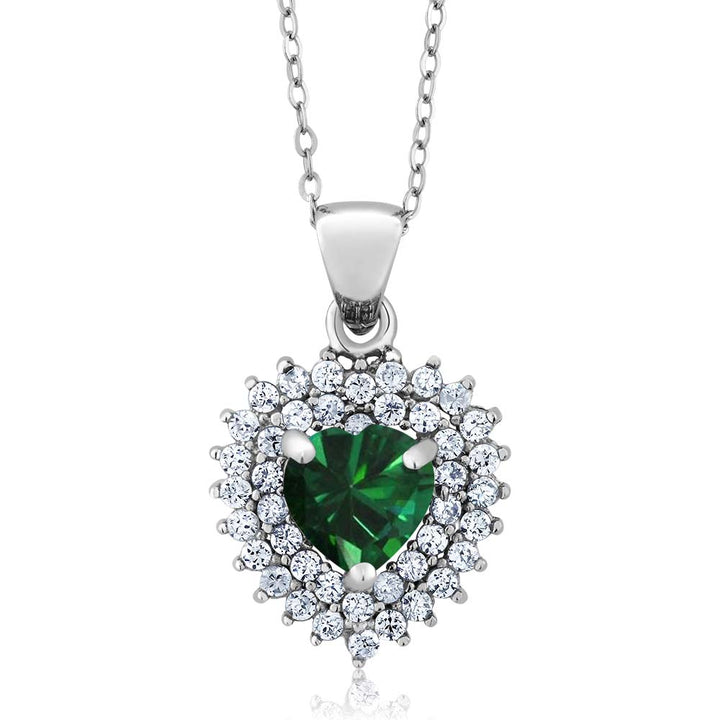 Gem Stone King 1.63 Ct Heart Shape Green Simulated Emerald 925 Sterling Silver Pendant