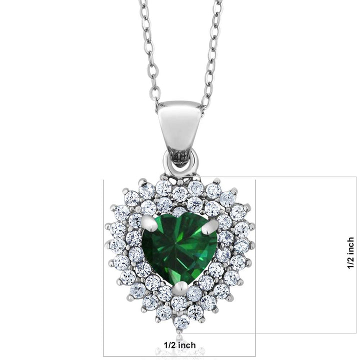1.63 Ct Heart Shape Green Simulated Emerald 925 Sterling Silver Pendant