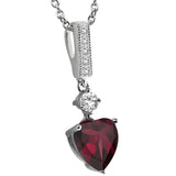 Gem Stone King 2.16 Ct Heart Shape Red Rhodolite Garnet 925 Sterling Silver Pendant