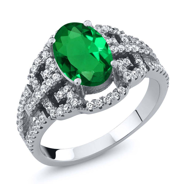 Gem Stone King 2.32 Ct Oval Green Nano Emerald 925 Sterling Silver Ring
