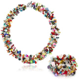 "Gem Stone King 17"" X 1"" Multi Color Stone Chips Necklace and 7"" Stretchy Bracelet Set"