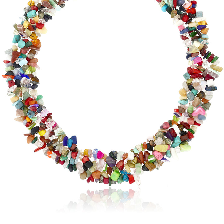"17"" X 1"" Multi Color Stone Chips Necklace and 7"" Stretchy Bracelet Set"