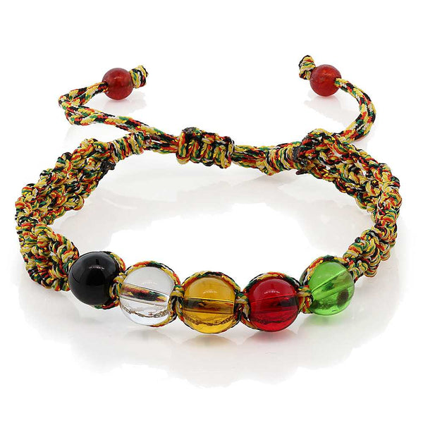 Gem Stone King 7inches Braided Fabric String with Multi Color Crystal Adjustable Friendship Bracelet
