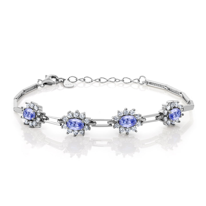 Gem Stone King Sterling Silver Tanzanite Tennis Bracelet (2.36 cttw, 7 Inch With 1 Inch Extender)