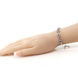 "Stunning 2.36 Ct Tanzanite and CZ 925 Sterling Silver Bracelet with 1"" Extender"