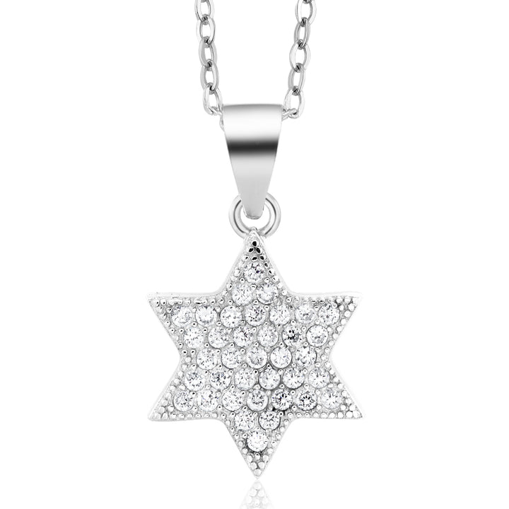 "Gem Stone King Sterling Silver White CZ Star of David Pendant Necklace with 18"" Silver Chain"