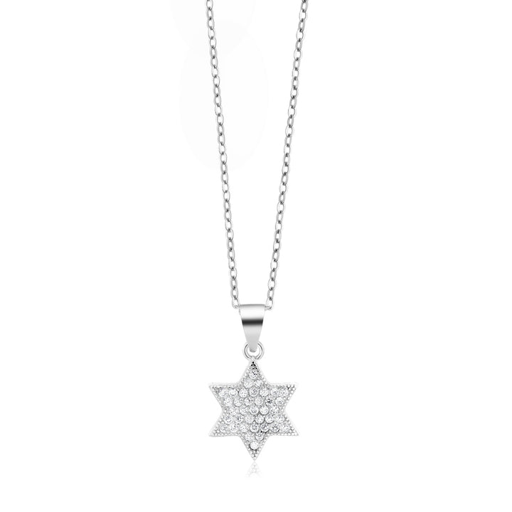 "925 Silver White CZ Star of David Pendant Necklace with 18"" Silver Chain"