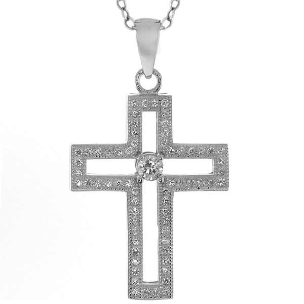 925 Silver Stunning Zirconia 1 Inch Cross Pendant with 18 Inch Silver Chain