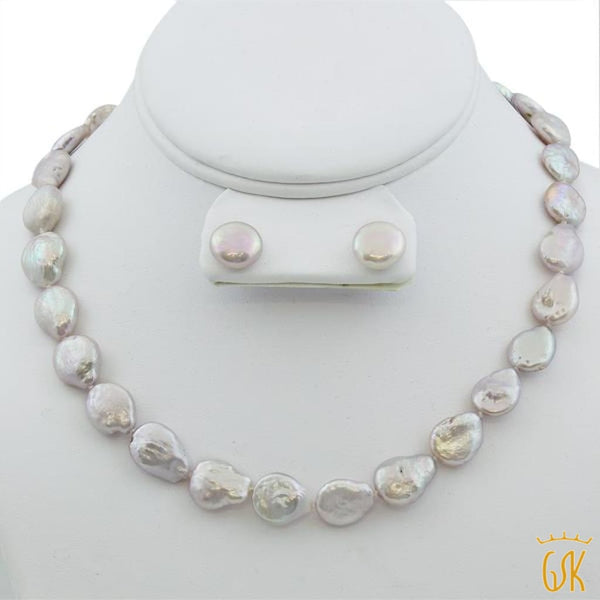 Coin Cultured Freshwater Pearl Necklace & Earring Silver Set