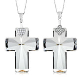 Sterling Silver Cross Pendant Necklace & Chain Made with Swarovski® Crystals