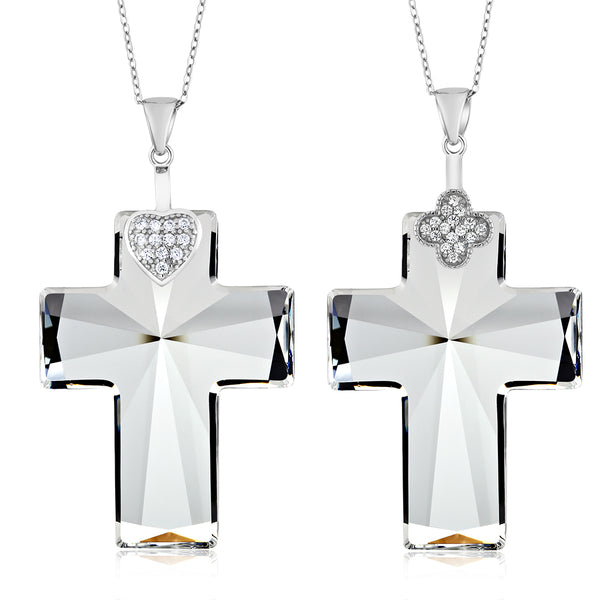 Sterling Silver Cross Pendant Necklace & Chain Created with Swarovski® Crystals
