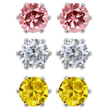 Gem Stone King Set of (3) 6mm Round Cubic Zirconia Pink, Yellow and White CZ Stud Earrings