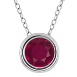 "Gem Stone King 1/2 Ct Round 14K White Gold Created Ruby Pendant with 18"" 14K White Gold Chain"