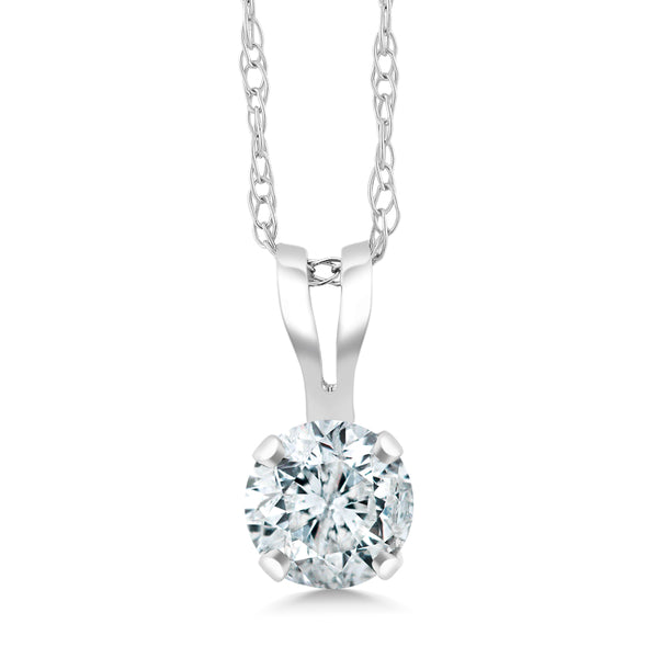 3e75d6442fa8c IGI Certified 1 4 ct 14k White Gold Round Cut Solitaire Diamond Pendant  Necklace