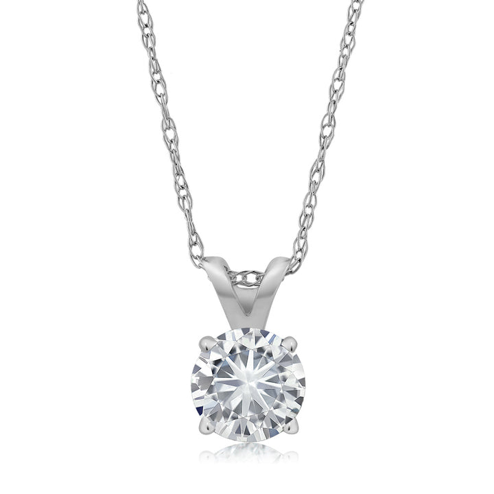 79e23dc4014de Gem Stone King IGI Certified 14k White Gold Round Cut Solitaire Diamond  Pendant Necklace 1