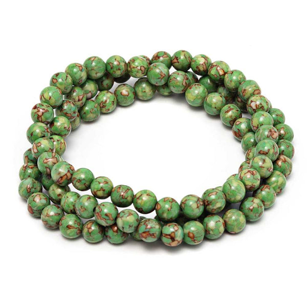 6mm Stunning Round Green  Simulated Turquoise  Bead Stretchy Bracelet / Necklace