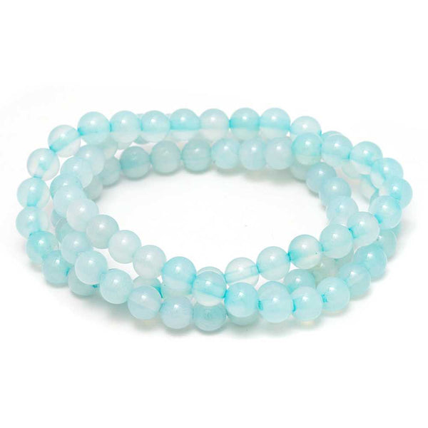 6mm Stunning Stackable Round Blue Agate Bead Stretchy Bracelet / Necklace 20""