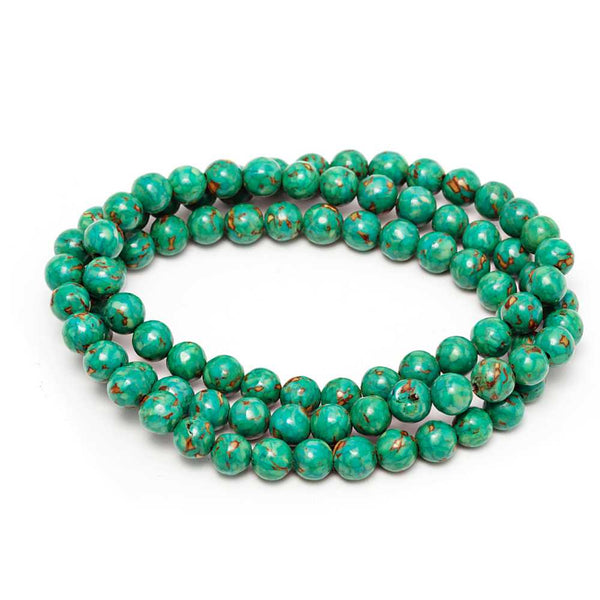Gem Stone King 6mm Stunning Round Green  Simulated Turquoise  Bead Stretchy Bracelet / Necklace