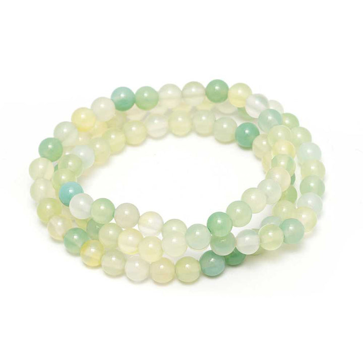 Gem Stone King 6mm Stunning Stackable Round Green Agate Bead Stretchy Bracelet / Necklace 20""