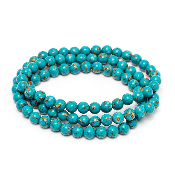 6mm Stunning Round Blue  Simulated Turquoise  Bead Stretchy Bracelet / Necklace