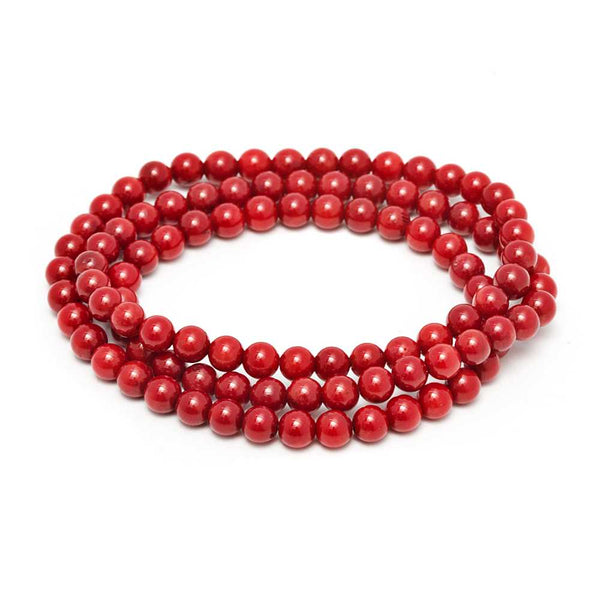 6mm Stunning Stackable Round Red Simulated Coral Bead Stretchy Bracelet / Necklace 20""