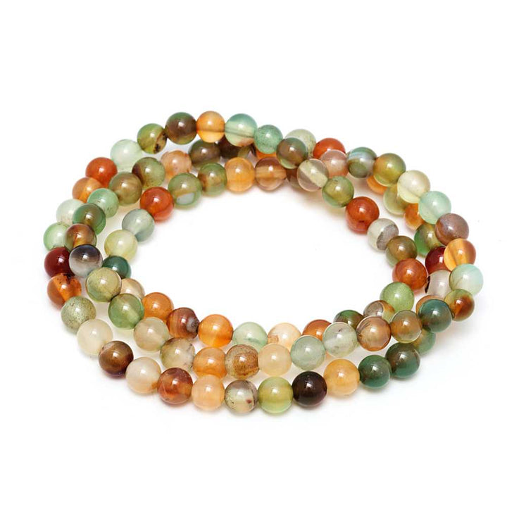 Gem Stone King 6mm Stunning Stackable Round Colored Agate Bead Stretchy Bracelet / Necklace 20""