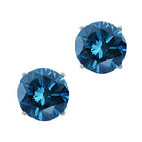 0.24 Ct Round Blue SI1-SI2 Diamond 14K White Gold Stud Earrings