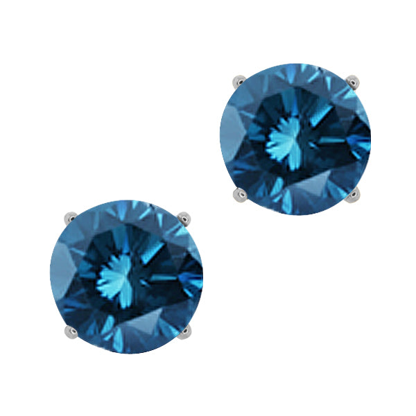 Gem Stone King 0.30 Ct Round Blue SI1-SI2 Diamond 14K White Gold Stud Earrings