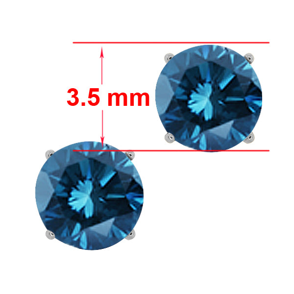 0.30 Ct Round Blue SI1-SI2 Diamond 14K White Gold Stud Earrings