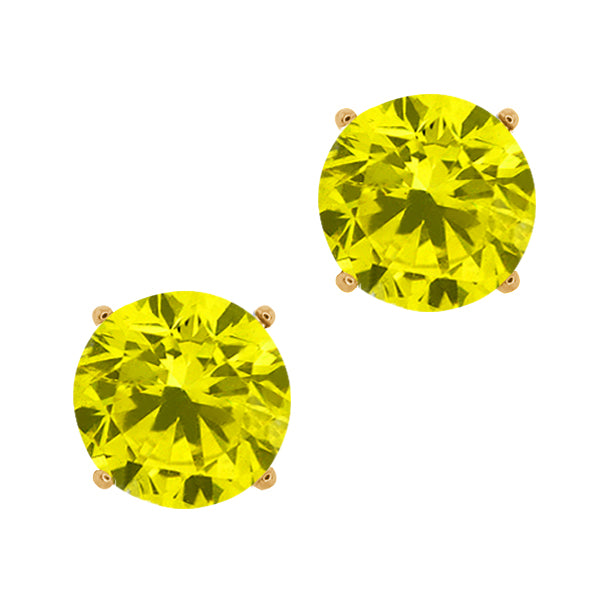 Gem Stone King 0.44 Ct Round Canary SI1-SI2 Diamond 18K Yellow Gold Stud Earrings