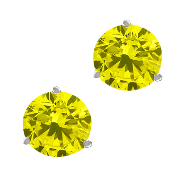 Gem Stone King 2.20 Ct Round Canary SI1-SI2 Diamond 10K White Gold Stud Earrings